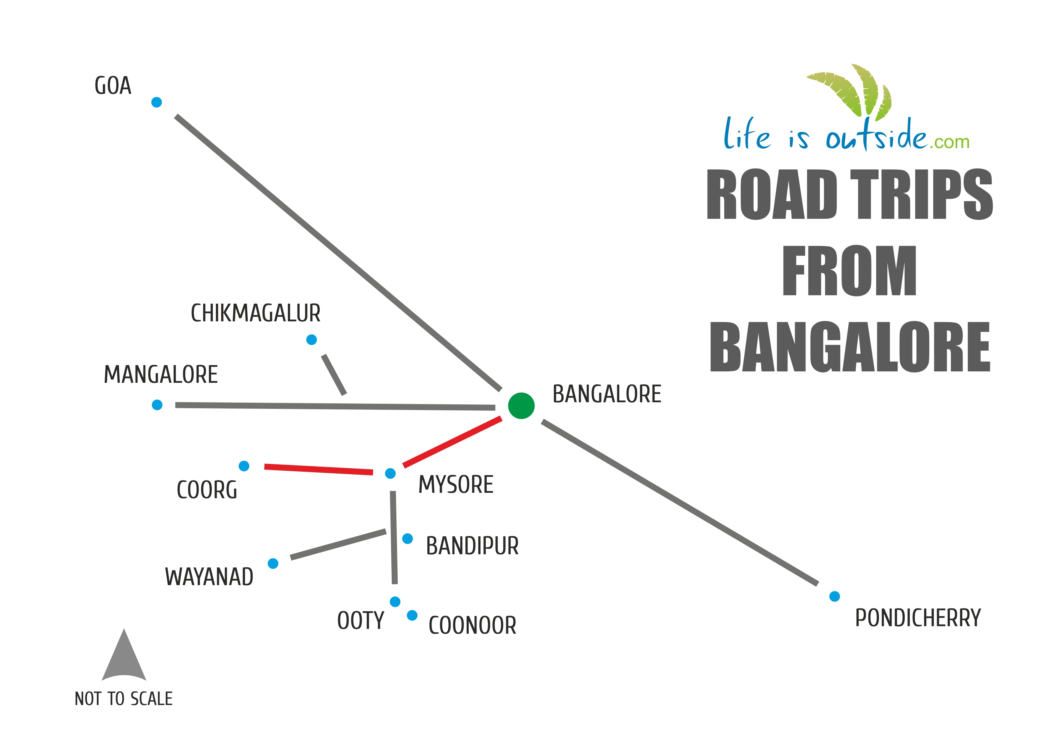 trip to coorg Bangalore to coorg trip the distance between bangalore and coorg is 245 kms and required time is 6 hrs the best road drive to coorg from bangalore is unquestionably via mysore and getmecab offers outstation taxi from bangalore to coorg at cheap fares.